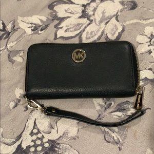 Michael Kors Black Leather Wristlet/wallet